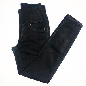 Spanx High Waist Black Waxed Skinny Jeans Small